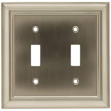 architectural decorative double switch plate satin nickel