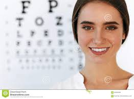Dr Office Eye Chart Beautiful Woman With Eye Test Chart At Ophthalmology Office