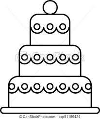 Big Wedding Cake Vector Line Icon Sign Illustration On Background