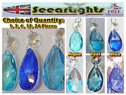 chandelier cut glass crystals drops antique teal aqua blue oval droplets beads