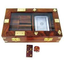 wooden box with a deck of playing cards and dominoes