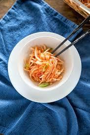 Bring vinegar, sugar, water, salt, spices and bay leaf to a boil in an enameled saucepan ladle hot pickling liquid over radishes. Daikon Radish Salad My Korean Kitchen