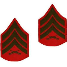 Details About Usmc Marine Corps Chevrons Green On Red Official E 5 Sergeant Sgt