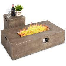 Best Choice Products 48x27in 50 000 Btu Patio Propane Fire Pit Table Side Table Tank Storage W Wood Finish Pit Cover Walmart Com Walmart Com