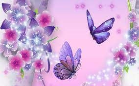3D Purple Butterfly and Stars ...