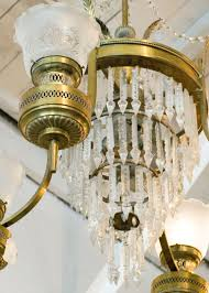 victorian large converted oil lamp crystal chandelier for