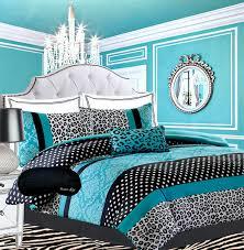 teen girls black teal bedding damask leopard full queen comforter white aqua blue set matching