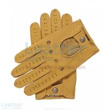 mens leather driving gloves upper view