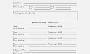 Child Care Emergency Contact Form Thevillas The Invoice And Form