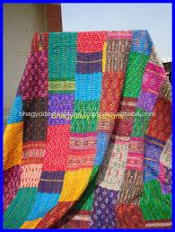 Sari Silk Patchwork Quilts Throw Vintage Kantha Quilt Indian Quilt ... & Sari Silk Patchwork Quilts Throw Vintage Kantha Quilt Indian Quilt Handmade  Bed covers Adamdwight.com
