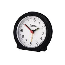 hama classic travel alarm clock low noise sweep ogue light black white