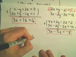 solving a system of equations involving 3 variables using elimination by addition example 3