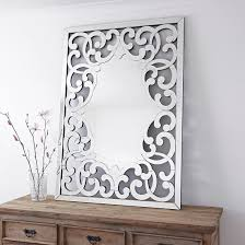 large decorative all glass venetian style wall mirror with fleur de lis design