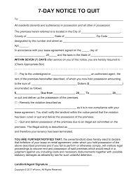 Free Eviction Notice Template Sample Eviction Notice Form Free Seven 7 Day Eviction Notice Template Pdf Word