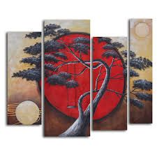 on 4 piece wall art set with crimson sun midnight moon 4 piece oil painted wall art set hayneedle
