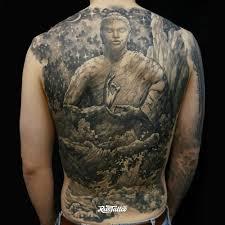 фото татуировки будда в стиле черно белые татуировки на спине
