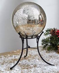 Mercury Glass Globes With Lights Ltd Mercury Glass Lighted Gazing Ball With Stand Timer Silver