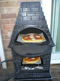 chiminea with pizza