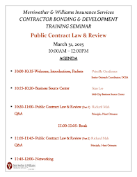 Training Agenda Public Contract Law Review Workshop