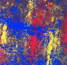 abstract art red blue yellow abstract painting modern wall art extra large wall art primary