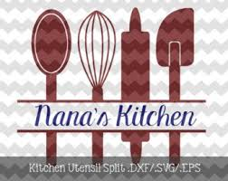 kitchen utensils split silhouette. Wonderful Split Kitchen Utensil Split Monogram Frame DXFSVGEPS File For Use Silhouette   And Utensils M