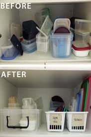 How to organise the food storage containers - separate containers from lids  to create an easy