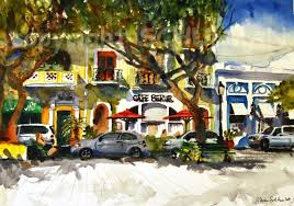 puerto rico landscape painting watercolor print by schulmanarts