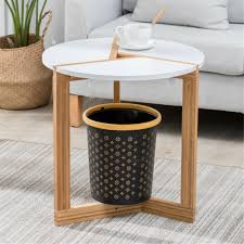 white wood 3 legged small modern coffee side table living room lamp table for