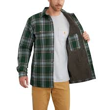 carhartt men 39 s hubbard sherpa lined flannel shirt jacket 365 canopy