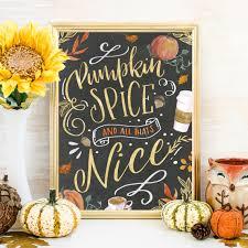 Pumpkin Spice Fall Wall Art, Fall Print Printable, Fall Decor, Fall Signs,  Coffee Bar Thanksgiving Decor Art Print Printable Chalkboard Art