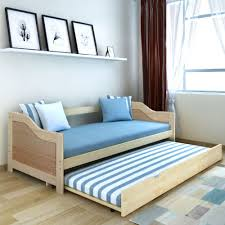 Double Sofa Bed Pine Wood Daybed Bunk Bed Pull Out Bed Wheeled Guest Room  Bed