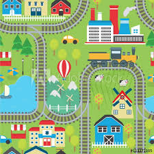 lovely city landscape train track seamless pattern for play mats rugs and decoration sunny city landscape with mountains farm factory buildings