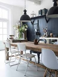 kitchen dining lighting. black industrial lights with wall in modern barn house white walls and mismatched chairs via victoria smith kitchen dining lighting