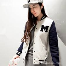 autumn and winter letter m varsity jacket long sleeve baseball jacket coat sportwear women baseball sports hoody sweatshirt outerwear womens leather er
