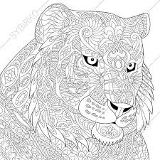 Lion Tiger And Elephant Coloring Page Adult Coloring Page Tiger