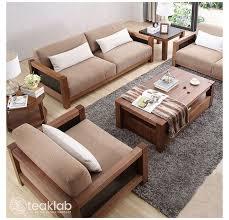 indian minimalist wooden sofa set