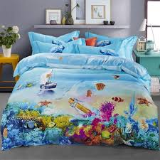 ocean blue tropical marine life bright colorful undersea world fish and c reef print girls boys 100 cotton twin full size bedding sets