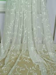 elbert branch fl pattern embroidered rod pocket white sheer curtains panels fabric details elbert branch fl pattern embroidered rod pocket white