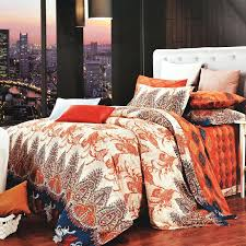 burnt orange and gray bedding brown beige western paisley park print bohemian new blue plaid an
