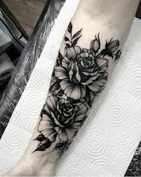 Blackwork Floral Forearm Tattoo By At Dmitriytkach Tattoos