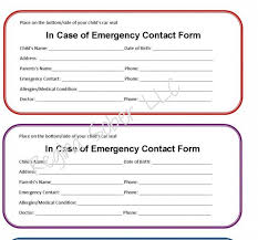 Emergency Contact Printable Printable Emergency Contact Form For Car Seat Eat Travel Life