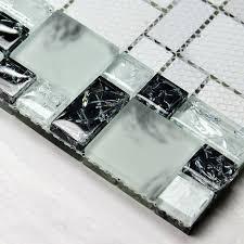 black and cream white glass mosaic tile ice crystal mosaic bathroom wall stickers kitchen backsplash