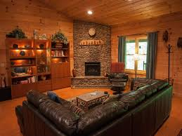 ... Extraordinary Image Of Log Cabin Interior Design Ideas : Gorgeous  Rustic Living Room Decoration Using Corner ...