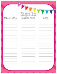 Student Sign In Sheet Teaching Resources | Teachers Pay Teachers