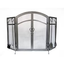 50 3 in old world pewter steel 3 panel arched twin fireplace screen