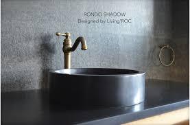 16 round black granite stone bathroom sink rondo shadow