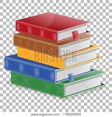 education concept stack of colored books with bookmarks on transpa background isolated vector ilration