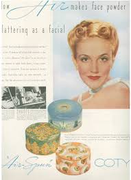 this really pretty coty air spun face powder ad is from 1939 powder seemed to be the most por makeup foundation in the 1930s and 40s
