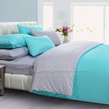 lakeblue and gray duvet cover solid bedding mercerized cotton