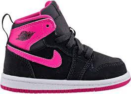 jordan youth shoes. air jordan retro 1 high infant toddler basketball shoe (black/vivid pink/white) youth shoes 4